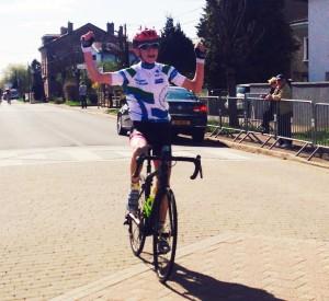 Flavien Arnould (VC Hettange Grande) Champion de Moselle victorieux à Tucquegnieux (Photo Gilbert Cré)