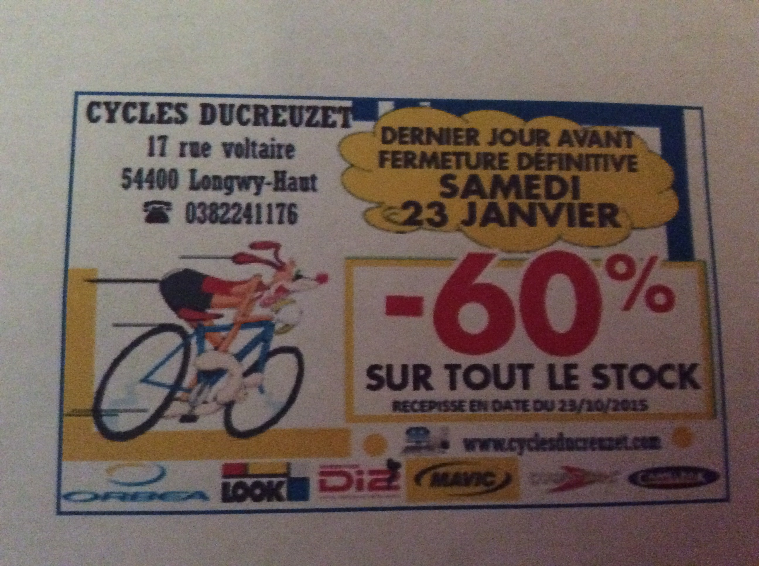 Cycles Ducreuzet à Longwy – Samedi 23 janvier – Liquidation totale